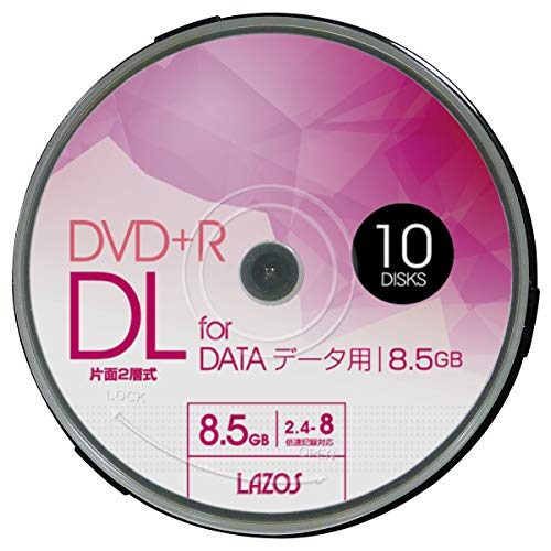 Lazos DVD+R DL 8.5GB for DATA 2.4-8倍速対応 1回記録用 ホワイトワイド印刷対応 10枚組 スピンドルケース入 L-DDL10P