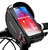 eletecpro Bike Phone Front Frame Bag,Waterproof Bicycle Bag,TPU Touch-Screen with Sun-Visor Bike Phone Mount Handlebar Bag for Cellphones Under 6.5' Cell Phone Holder Bag for GPS