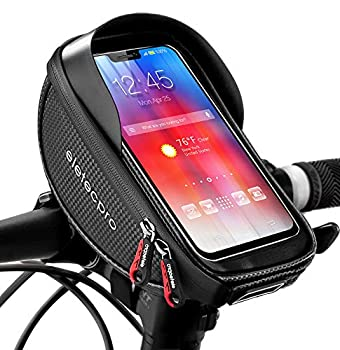 eletecpro Bike Phone Front Frame Bag,Waterproof Bicycle Bag,TPU Touch-Screen with Sun-Visor Bike Phone Mount Handlebar Bag for Cellphones Under 6.5  Cell Phone Holder Bag for GPS