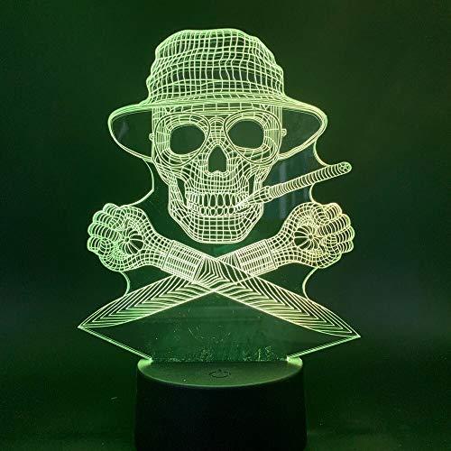 Hunter Thompson Gonzo Journalismus Schädel Mann Büro Nachtlicht 3D LED USB Tischlampe Kinder Geburtstagsgeschenk Nachtzimmer Dekoration