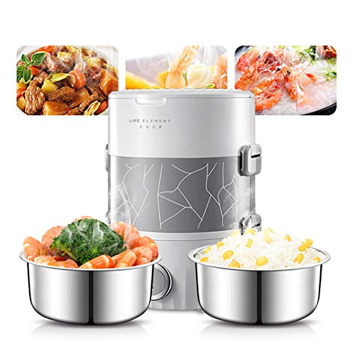 Review 220V 2L Electric Heating Rice Cooker Portable Mini Stainless Steel Inner Heating Lunch Box Va...