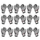 ULTECHNOVO 12 Paires de Gants Résistants Aux Coupures Gants Résistants Aux Coupures Gants de Coupe de Sécurité pour Cuisine Huître Décorticage Coupe de Viande Sculpture sur Bois
