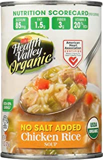 Health Valley Organic No Salt Added Soup, Chicken Rice, 15 Ounce (Pack of 6)