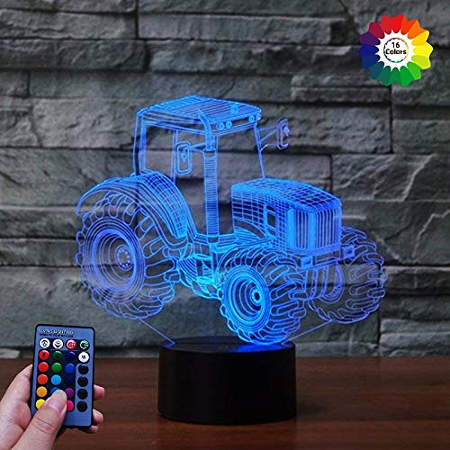 HPBN8 Ltd 3D Traktor Lampe USB Power Fernbedienung 7/16 Farben Amazing Optical Illusion 3D wachsen LED Lampe Formen Kinder Schlafzimmer Nacht Licht