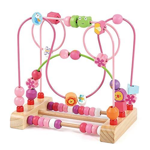 BGROESTWB Bead Maze Actividad de Madera Cube Actividad Centro multifunción Bead Maze Juguete Regalo para niños Niños Niños Niñas para Chicos Chicas (Color : Pink, Size : One Size)
