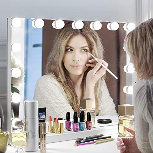 Specchio da trucco Hollywood Specchio per Trucco Specchi da tavolo con 15 lampadine a LED Specchio cosmetico Specchio Hollywood Illuminato 58X45.5cm bianco