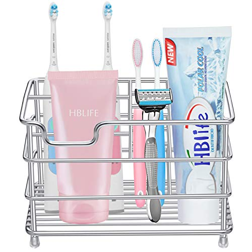 HBlife Electric Toothbrush Holder, Large Stainless Steel Toothpaste Holder Bathroom Accessories Organizer, Sliver