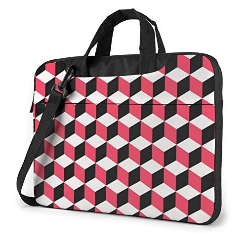 3D Red Checkered Print Laptop Sleeve Compatible with 13-15.6 Inch, Notebook Computer Briefcase Bag