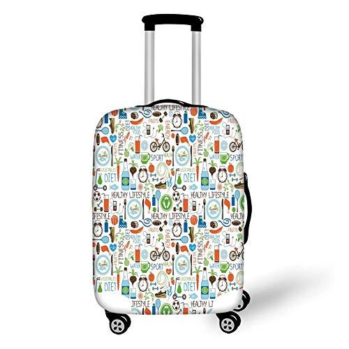 Travel Bagage Cover Koffer Beschermer, Fitness, Sport en Dieet Balance Voeding Fiets Organische Vers Voedsel Gevogelte Sap Vitaliteit, Multi kleuren, voor Reizen
