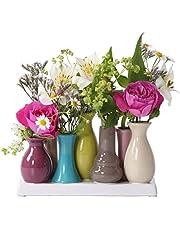 Jinfa Moderna inomhusvasar i keramik | Flerfärgad | 18 x 7 x 11 cm | Set med 7 vaser | Dekorativa blomvaser, moderna prydnadsföremål, present, centrumbild keramik