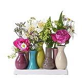 Jinfa Handgefertigte kleine Keramik Deko Blumenvasen Set aus 7 Vasen in bunt