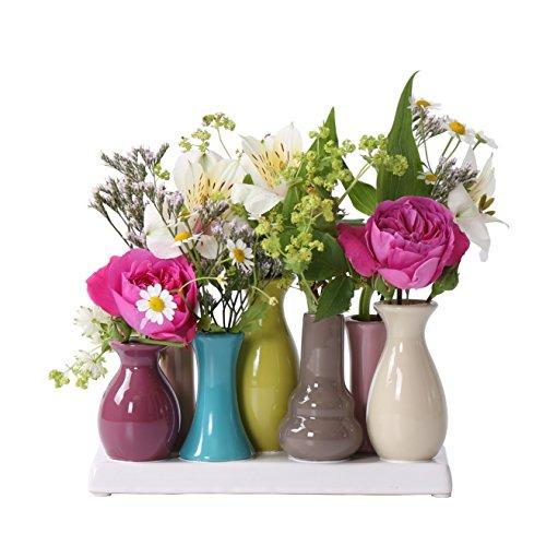 Jinfa | Floreros Modernos en cerámica para Interiores | Multicolor | 18 x 7 x 11 cm | Set de 7 jarrones | Floreros en...
