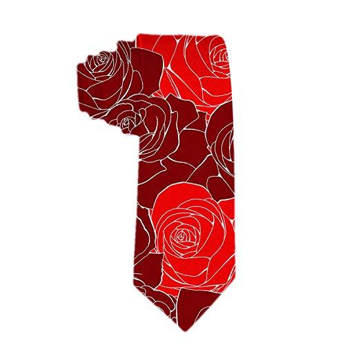 Corbata clásica para hombre Corbata con flor rosa roja vintage Corbat