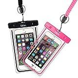 EOTW 2 Stück wasserdichte Handy Hülle, Wasser- & staubdichte Hülle für iPhone, Samsung, Nexus, HTC & mehr, Super Hülle für den Strand & Wassersport (Schwarz+Pink)