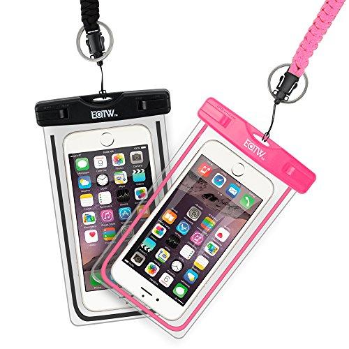 EOTW 2 Stück wasserdichte Handy Hülle, Wasser- und staubdichte Hülle für iPhone, Samsung, Nexus, HTC und mehr, Super Hülle für den Strand und Wassersport (Schwarz + Pink)