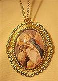 Shiny Swirled Rim Goldtone Guardian Angel with Child Cameo Necklace Brooch Pin UJ-3505
