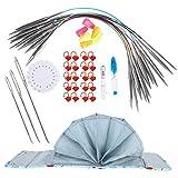 Juego de agujas de tejer circulares de acero inoxidable, diferentes tamaños Juego de agujas de tejer circulares de acero inoxidable para opciones de(100cm ring pin set)