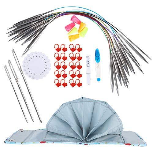 Outil d aiguille à tricoter, kit de tricot circulaire, fournitures de broderie Pointe en acier inoxydable pour chapeaux