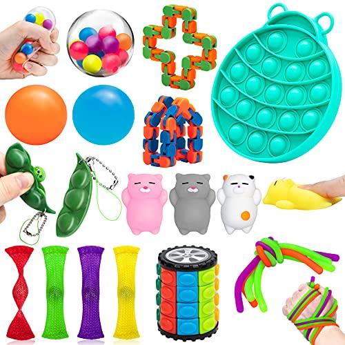 Hicober Juguetes Antiestrés Pack, Juguetes Sensoriales 22 Piezas, Fingers Sensory Toys Set para Aliviar el Estrés y Reducir la Ansiedad, Regalo para Adultos Niños