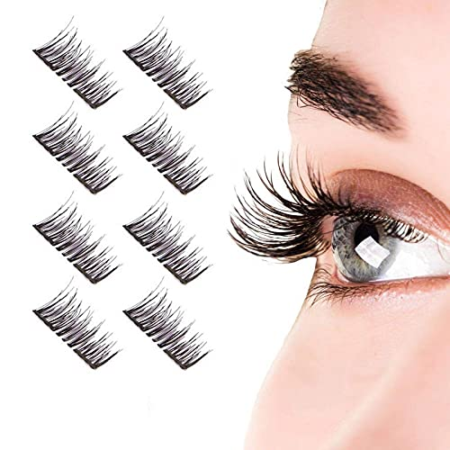 8pcs False Magnetic Eyelashes No Glue Magnet Eyelash Perfect Size Lightweight & Easy to Wear Best 3D Reusable Lashes Extensions (full eyelashes) (BLACK)