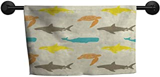xixiBO Sand-Free Towel W 14 x L 14(inch), Thin,Hotel Towels,Sea Animals,Pattern with Whale Shark and Turtle Aquarium Doodle Style Marine Life,Ivory Taupe Peach