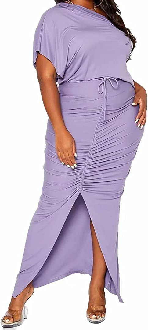 Womens Sexy Plus Size 2 Piece Dress Outfits - Short Sleeve Slant Shoulder T Shirt Bodycon Ruched Skirts Set