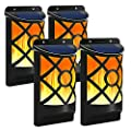 Solar Flame Lights Outdoor,YUJENY Flickering Flame Wall Lights Outdoor Solar Spotlights Landscape Decoration Lighting Dusk to Dawn Auto On/Off 66 LEDWaterproof Solar Powered Wall Lights Garden?4 Pack?