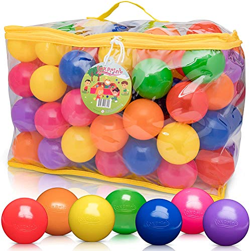 FoxPrint Soft Plastic Kids Play Balls – Non Toxic, 120 Phthalate & Bpa Free - Crush Proof & No Sharp Edges; Ideal for Baby or Toddler Ball Pit, Kiddie Pool, Indoor Playpen & Parties