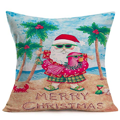 Fukeen Merry Christmas Beach Decor Throw Pillow Covers SantaClaus with Tropical Flamingo Palm Tree Crab Pillow Cases Cotton Linen 18x18 Inch Xmas Holiday Home Decorative Cushion Cover