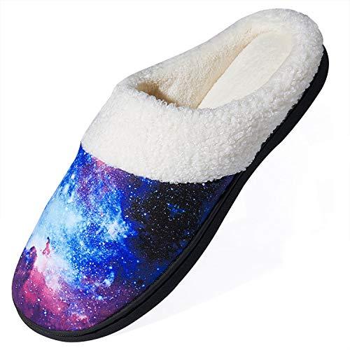 Rave on Friday 3D Galaxis Pantoffeln Winter Wärme Hausschuhe Baumwolle Neuheit Galaxy Drucken Home rutschfeste Slippers für Herren Damen Christmas M, 42/43