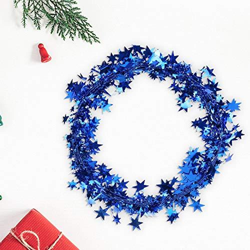 Hunpta@ 7,5 m Star Lametta Weihnachtsdekoration, 1/6 Stück Multifunktionen Lametta Weihnachtsbaum Kränzen Garland Weihnachtskränzen Deko Hochzeiten Festivals Partys Dekoration (Blau)
