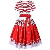 VEMOW Herbst Mode Elegant Damen Abendkleid Frauen V Ausschnitt Bänder Frohe Weihnachten Weihnachtsmann Print Party Dating Midi Kleid(X1 Rot, 38 DE/XL CN)