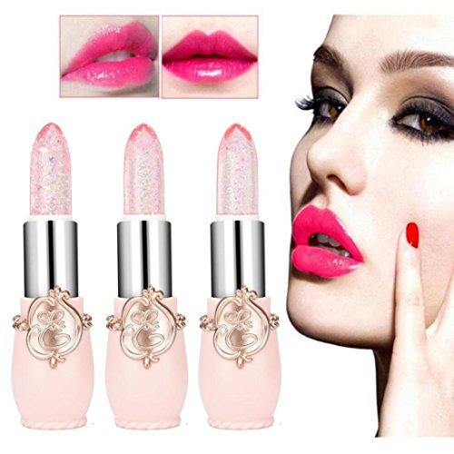Rouge à Lèvres Magique Paillettes, Rouge à lèvre Matte, Beauté Brillant Cristal Jelly Lipstick Magic Changement de température Changement de couleur Rouge à lèvres