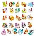 DIY A-Z Alphabet Animals Wall Sticker-Removable Alphabet Wall Decals Peel and Stick Wall Decor for Kids Nursery Baby