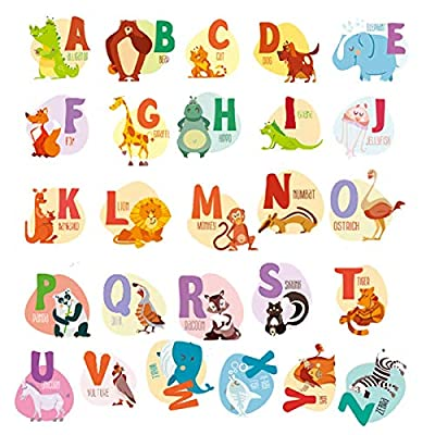 DIY A-Z Alphabet Animals Wall Sticker-Removable Alphabet Wall Decals Peel and Stick Wall Decor for Kids Nursery Baby