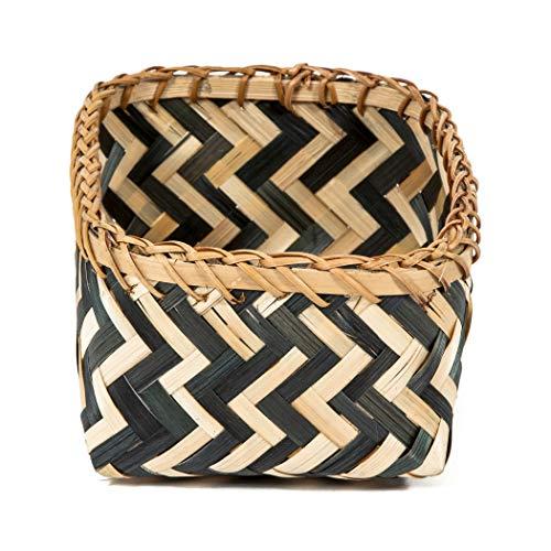 Compactor Zebra Basket, Black and Natural, Medium, Bamboo, Small