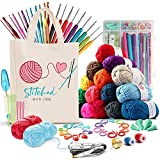 73 Piece Crochet Kit with Crochet Hooks Yarn Set - Premium Bundle Includes Yarn Balls, Needles, Accessories Kit, Canvas Tote Bag and Lot More - Starter Pack for Kids Adults – Beginner, Professionals.
