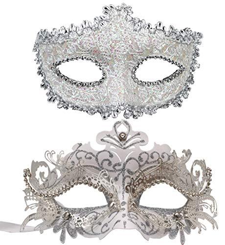 Geek-Mzzc Maskenmaske für Paare, Damen, Herren, Karneval, Maske, Kostüm, für Weihnachten, Festival, Neujahr, Party - weiß - Einheitsgröße