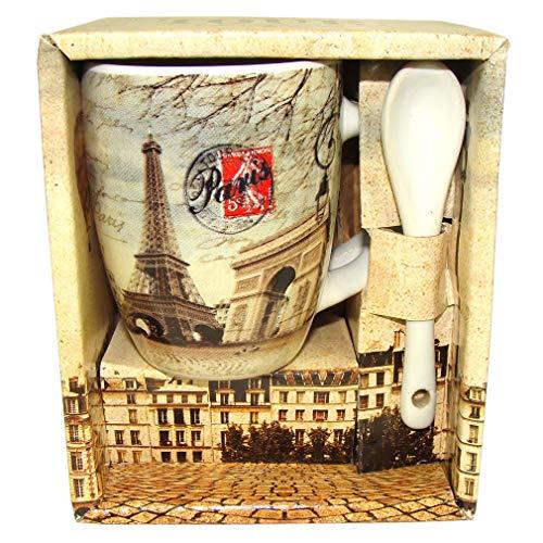 Souvenirs de France - Tasse à Café Paris Monuments avec Cuillère - Beige