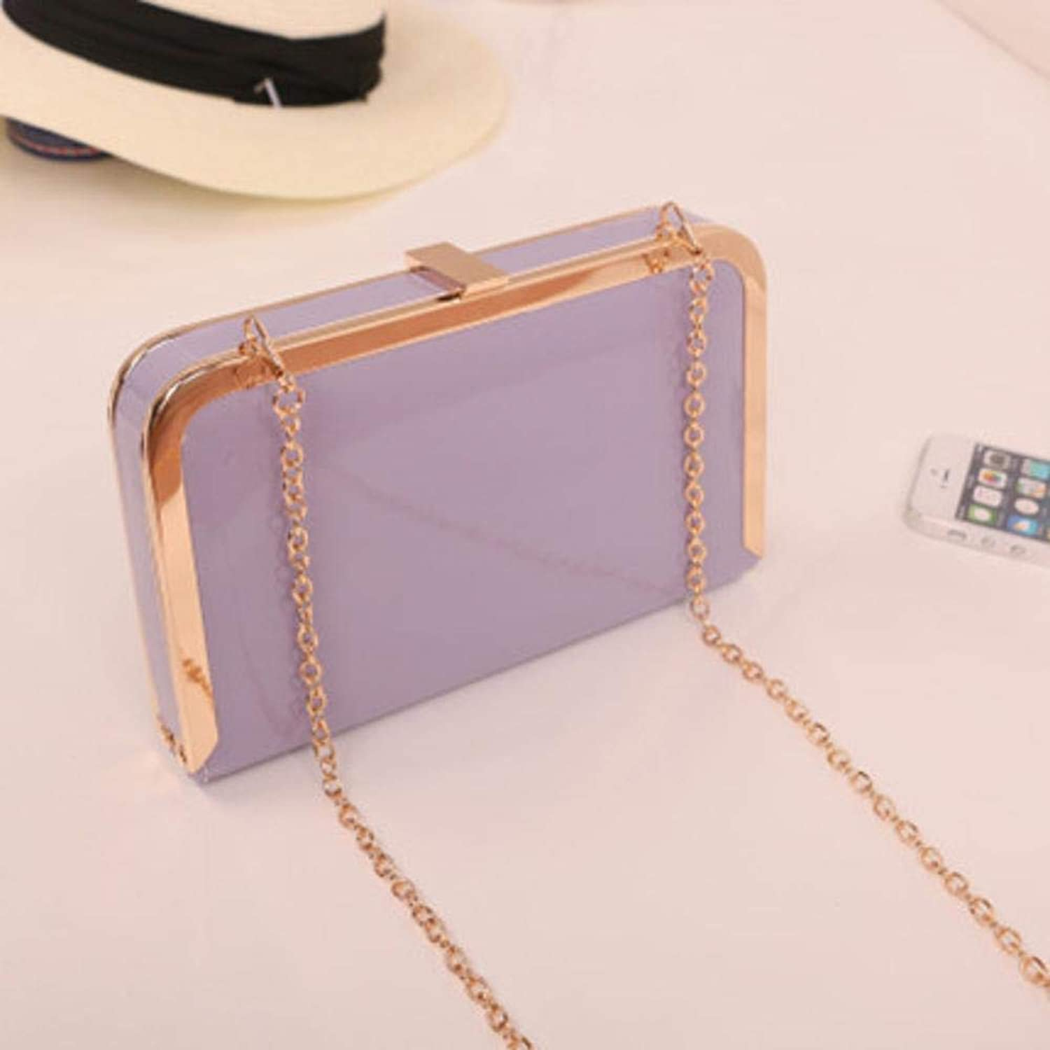 Girls Purse Women's Wallet Lady Patent Chain Bag Metal Clip Single Shoulder Bag PU Leather (color   E)