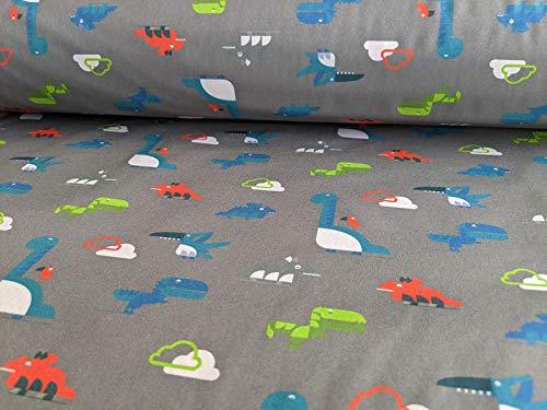 Softshell, kleine Dinos auf Grau als Meterware zum Nähen, 50 cm