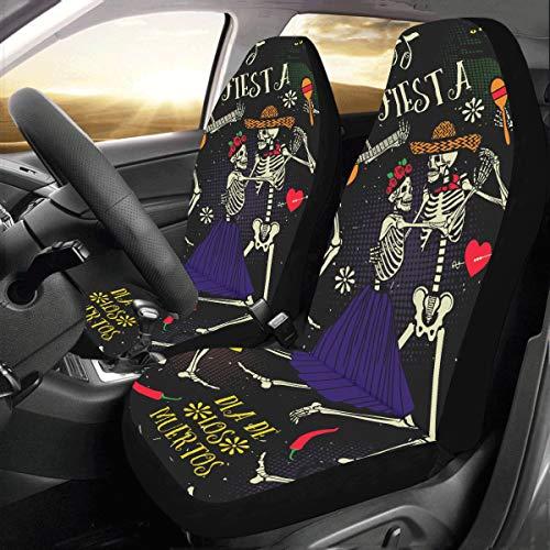 Lustige Skelette Tanz Mit Musik Instrument Benutzerdefinierte Universal Fit Auto Autositzbezüge Protector Für Frauen Automobil Jeep Lkw Suv Fahrzeug Full Set Zubehör Für Erwachsene Baby set Von 2