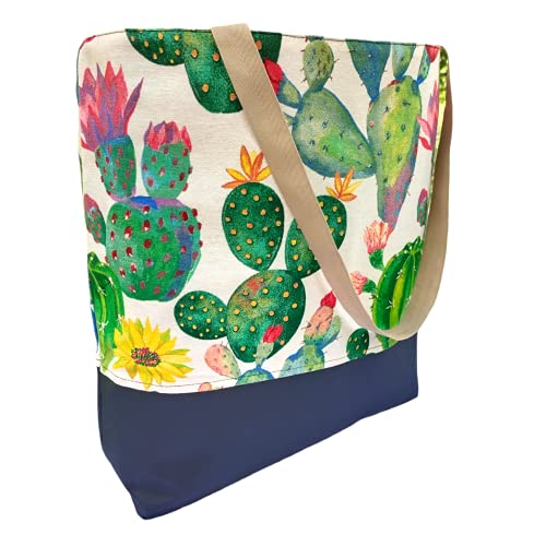 Bolsa de Playa/Piscina Grande 46 x 40 x 12 cm Shopper Bolsa de Hombro Bolsa Impermeable Regalo Original (TOTE BAG CACTUS)