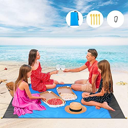 LOVEXIU Alfombras de Playa, Manta Playa Antiarena 200 x140cm Manta Picnic Impermeable y Plegable de Playa con 4 Estaca Fijo para la Playa, Acampar