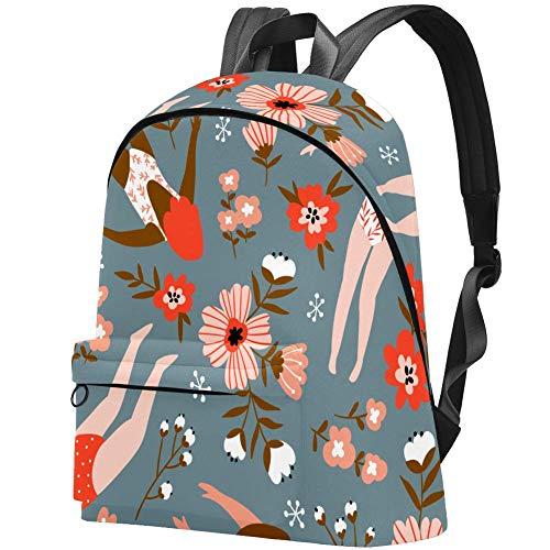 Floral und junge Mädchen in Badeanzügen Muster College Student Büchertasche Rucksack Reise Tagesrucksack Tasche