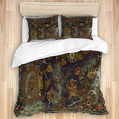 ZOANEN Bettwäsche - Bettwäscheset,Alte mysteriöse Karte der Fluch der Karibik,Multicolor Superfine Fiber Bettbezug Kissenbezug Set135 x 200cm