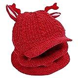 SODIAL Sombrero de Invierno de Bebé Redecilla de Gorro de Punto con Cuello para Ni?As y Ni?Os con Forro Polar Regalo de Navidad - Rojo