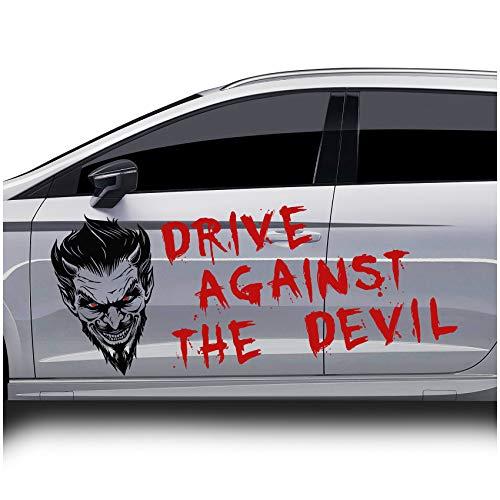 Finest Folia Drive Against The Devil Dekor Aufkleber für Fahrzeuge Auto Motorrad Bus Wohnwagen Kfz Zubehör Autoaufkleber Folie mit Teufel Motiv ((KX028/KX024) 80x50 cm + Schrift)