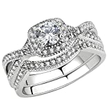 FlameReflection Womens Stainless Steel Wedding Sets Round Cz Triple Band Wedding Ring Set Size 8.5