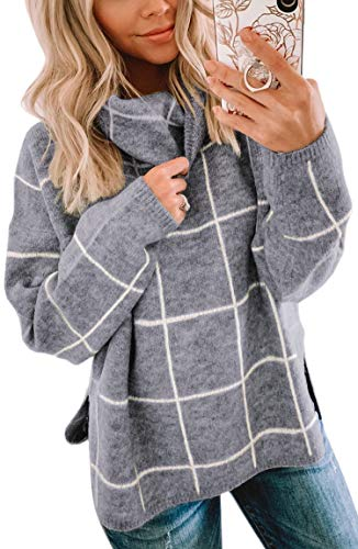 ECOWISH Women Pullover Sweater Turtleneck Plaid Long Sleeve Loose Casual Chunky Checked Knitted Winter Sweaters Jumper Tops Gray Small